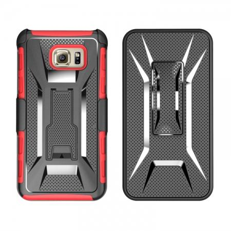 Hybrid Armor Combo Holster Case Cover With Belt Clip Stand For Samsung Galaxy Note 5 - Red