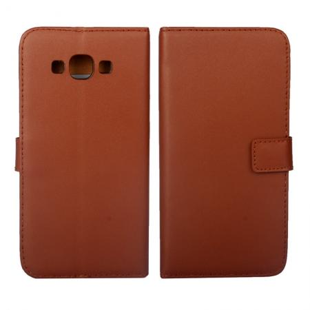 Plain Genuine Wallet Leather Flip Case with Card Holder For Samsung Galaxy A8 - Brown
