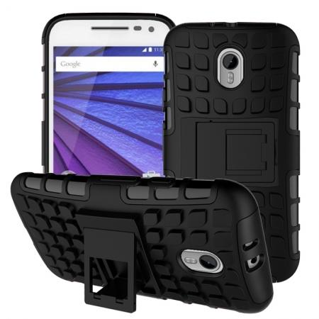 Shockproof Armor Design TPU Hard Case Cover Stand for Motorola MOTO G3 - Black