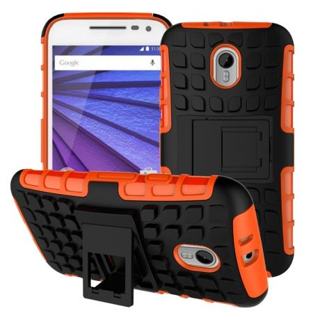 Shockproof Armor Design TPU Hard Case Cover Stand for Motorola MOTO G3 - Orange