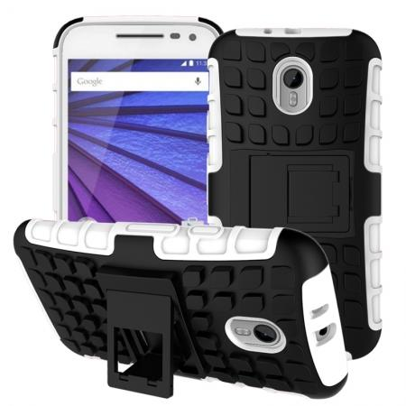 Shockproof Armor Design TPU Hard Case Cover Stand for Motorola MOTO G3 - White