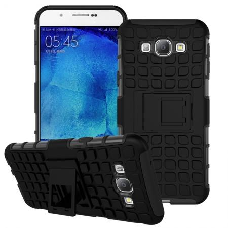 Shockproof Armor Design TPU Hard Case Cover Stand for Samsung Galaxy A8 - Black
