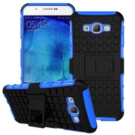 Shockproof Armor Design TPU Hard Case Cover Stand for Samsung Galaxy A8 - Blue