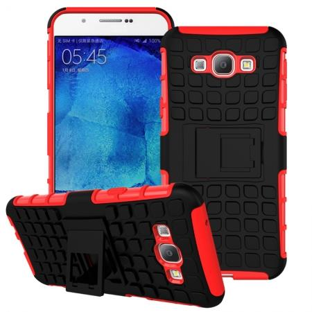 Shockproof Armor Design TPU Hard Case Cover Stand for Samsung Galaxy A8 - Red