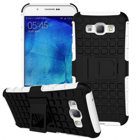 Shockproof Armor Design TPU Hard Case Cover Stand for Samsung Galaxy A8 - White