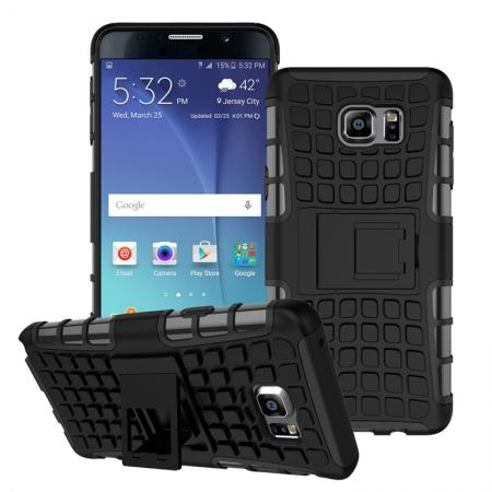 Shockproof Armor Design TPU Hard Case Cover Stand for Samsung Galaxy Note 5 - Black