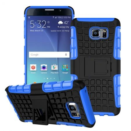 Shockproof Armor Design TPU Hard Case Cover Stand for Samsung Galaxy Note 5 - Blue