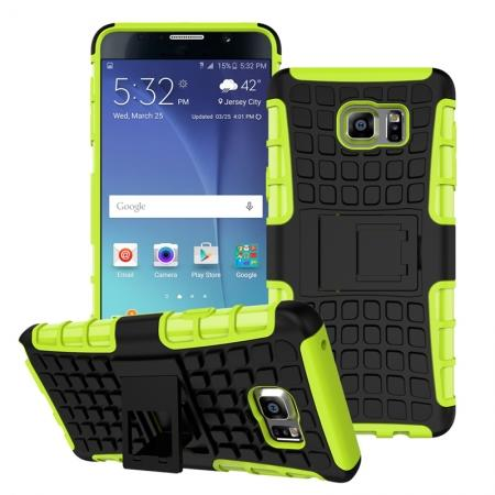 Shockproof Armor Design TPU Hard Case Cover Stand for Samsung Galaxy Note 5 - Green