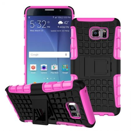 Shockproof Armor Design TPU Hard Case Cover Stand for Samsung Galaxy Note 5 - Hot pink