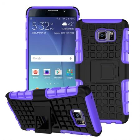 Shockproof Armor Design TPU Hard Case Cover Stand for Samsung Galaxy Note 5 - Purple