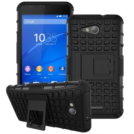 Shockproof Armor Design TPU Hard Case Cover Stand for Sony Xperia E4G - Black