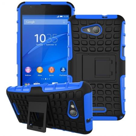 Shockproof Armor Design TPU Hard Case Cover Stand for Sony Xperia E4G - Blue