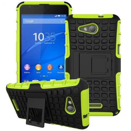 Shockproof Armor Design TPU Hard Case Cover Stand for Sony Xperia E4G - Green