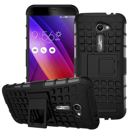 Shockproof Armor Design TPU Hard Case With Stand For Asus Zenfone 2 5.0 ZE500CL - Black