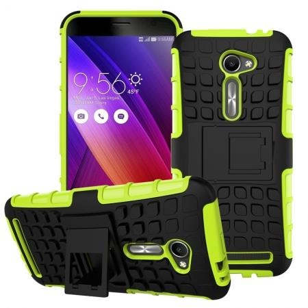 Shockproof Armor Design TPU Hard Case With Stand For Asus Zenfone 2 5.0 ZE500CL - Green