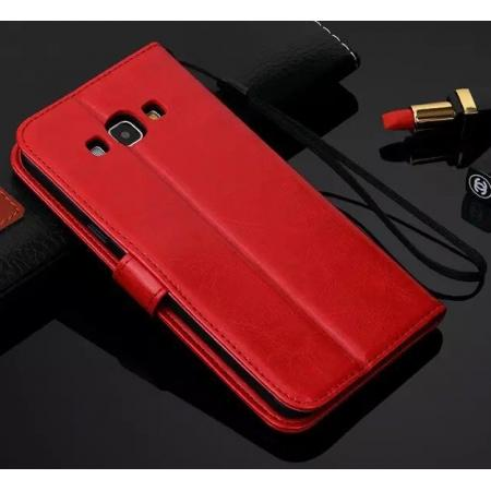 High quality Crazy Horse Texture Wallet Pu Leather Flip Case for Samsung Galaxy A8 - Red