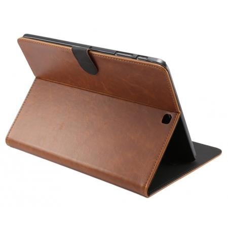 Luxury Crazy Horse Leather Flip Stand Case for Samsung Galaxy Tab S2 9.7 T815 - Brown