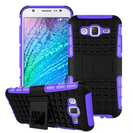 Rugged Dual layer shockproof Case with stand for Samsung Galaxy J5 - Purple