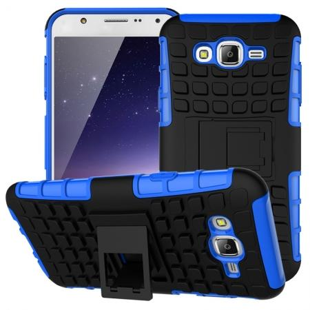Rugged Dual layer shockproof Case with stand for Samsung Galaxy J7 - Blue