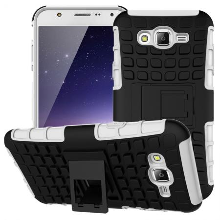 Rugged Dual layer shockproof Case with stand for Samsung Galaxy J7 - White