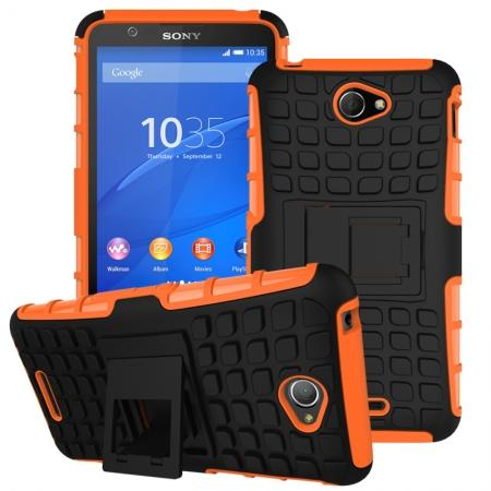 Shockproof Armor Design TPU Hard Case Cover Stand for Sony Xperia E4 - Orange