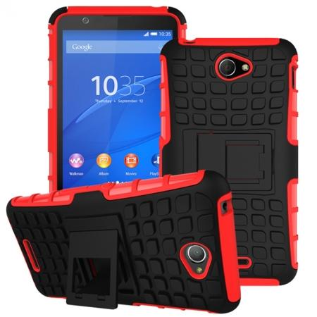 Shockproof Armor Design TPU Hard Case Cover Stand for Sony Xperia E4 - Red