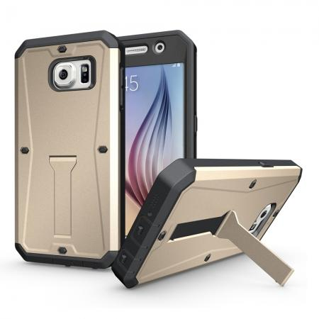 Shockproof Armor Stand Case with Built-in Screen Protector For Samsung Galaxy S6 - Gold
