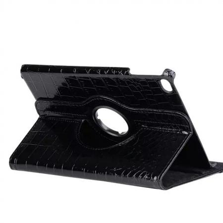360 Degree Rotary Smart Stand Crocodile Leather Case for iPad mini 4 - Black