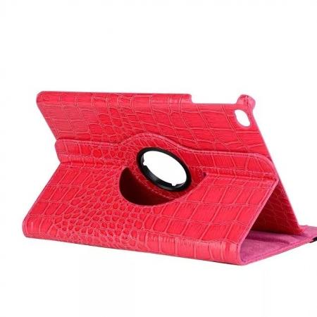 360 Degree Rotary Smart Stand Crocodile Leather Case for iPad mini 4 - Hot pink