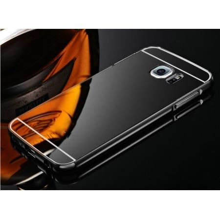 Aluminum Metal Bumper with Mirror Acrylic Plastic Back Cover for Samsung Galaxy S6 - Black
