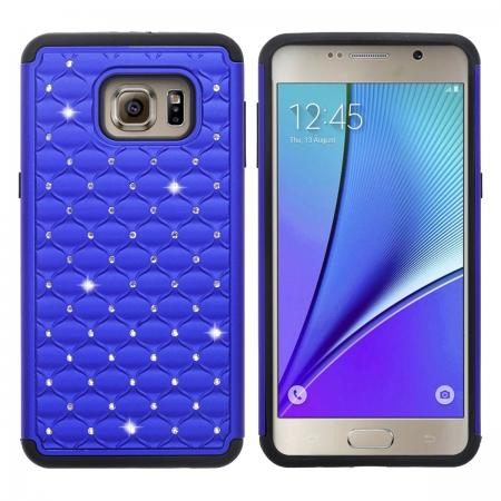 Dual Layer Armor Bling Diamond Hard Case for Samsung Galaxy S6 Edge Plus - Dark blue&Black