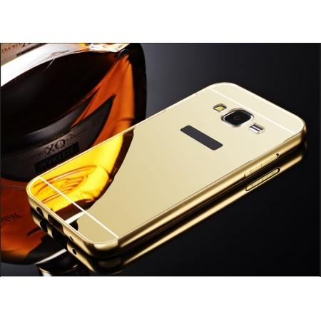Fashion Aluminum Bumper Case with Mirror Acrylic Backplane for Samsung Galaxy J5 - Gold