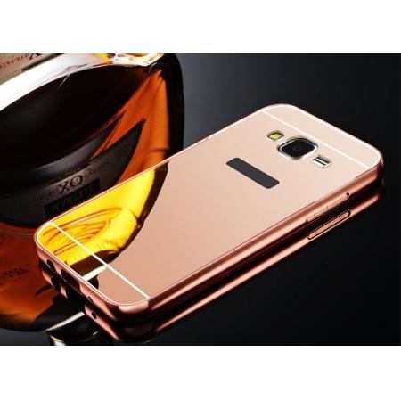 Fashion Aluminum Bumper Case with Mirror Acrylic Backplane for Samsung Galaxy J5 - Rose gold