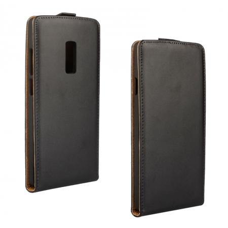 Genuine Real Leather Vertical Flip Case Cover for Oneplus Two 2 - Black