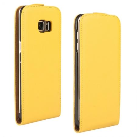 Genuine Real Leather Vertical Flip Case Cover For Samsung Galaxy S6 Edge+/Plus - Yellow