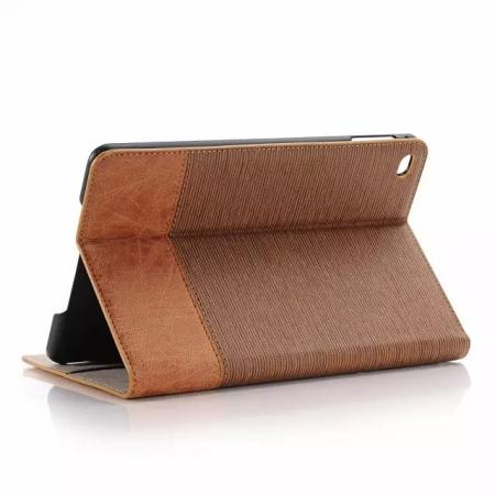 Hybrid Cross Pattern PU Leather Stand Case for iPad mini 4 with Card Money Holder - Brown