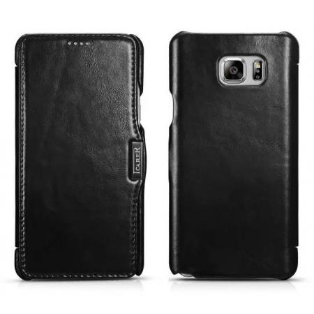 ICARER Vintage Genuine Leather Magnetic Folio Case For Samsung Galaxy Note 5 - Black