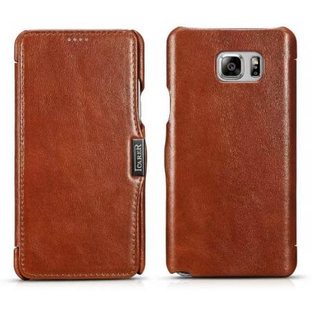 ICARER Vintage Genuine Leather Magnetic Folio Case For Samsung Galaxy Note 5 - Brown