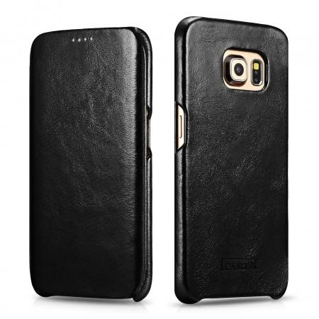 ICARER Vintage Series Genuine Leather Flip Case For Samsung Galaxy S6 Edge - Black