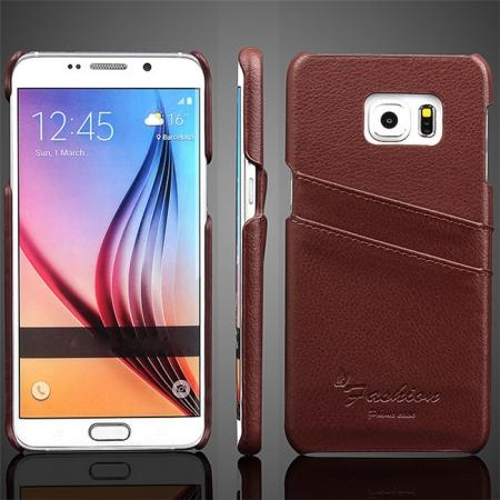 Litchi Genuine Leather Back Case Cover for Samsung Galaxy S6 Edge+/Plus With Card Holder - Brown