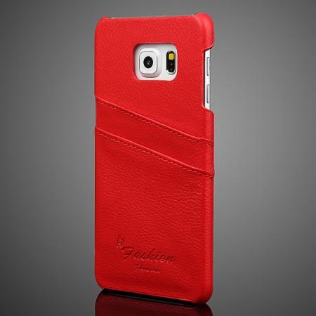 Litchi Genuine Leather Back Case Cover for Samsung Galaxy S6 Edge+/Plus With Card Holder - Red