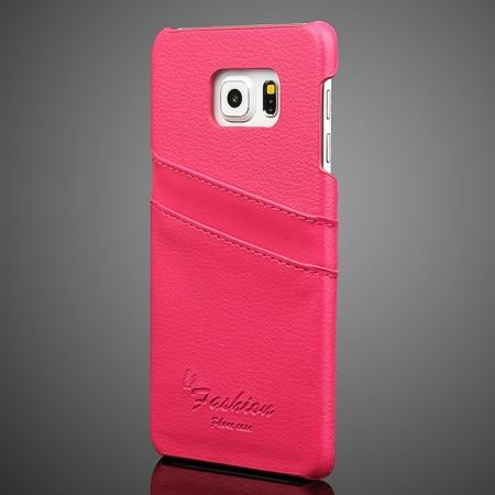 Litchi Genuine Leather Back Case Cover for Samsung Galaxy S6 Edge+/Plus With Card Holder - Rose