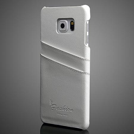 Litchi Genuine Leather Back Case Cover for Samsung Galaxy S6 Edge+/Plus With Card Holder - White