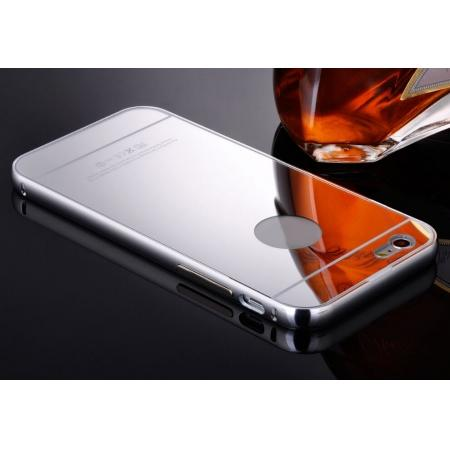 Luxury Aluminum Metal Bumper with Mirror Acrylic Back Cover for iPhone 6S/6 4.7inch - Silver