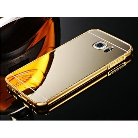 Luxury Aluminum Metal Bumper with Mirror Acrylic Back Cover for Samsung Galaxy S6 Edge - Gold