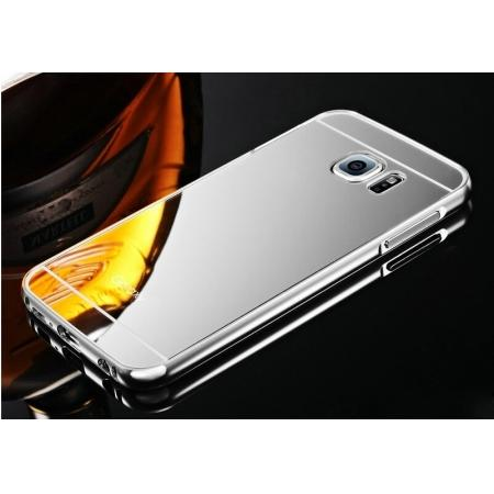 Luxury Aluminum Metal Bumper with Mirror Acrylic Back Cover for Samsung Galaxy S6 Edge - Silver