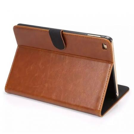 Luxury Crazy Horse Folio Leather Case for iPad mini 4 - Brown