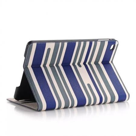 Mixed Colored Stripes Magnetic Stand Flip Pu Leather Case for iPad Mini 4 with Card Slots - Dark Blue