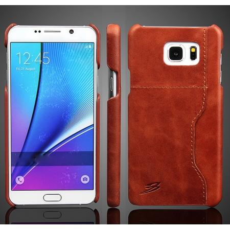Oil Wax Grain Genuine Leather Back Cover Case With Card Slot For Samsung Galaxy Note 5 - Brown