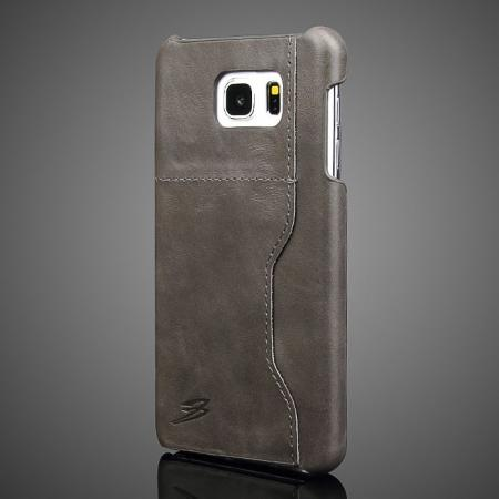 Oil Wax Grain Genuine Leather Back Cover Case With Card Slot For Samsung Galaxy Note 5 - Dark Grey